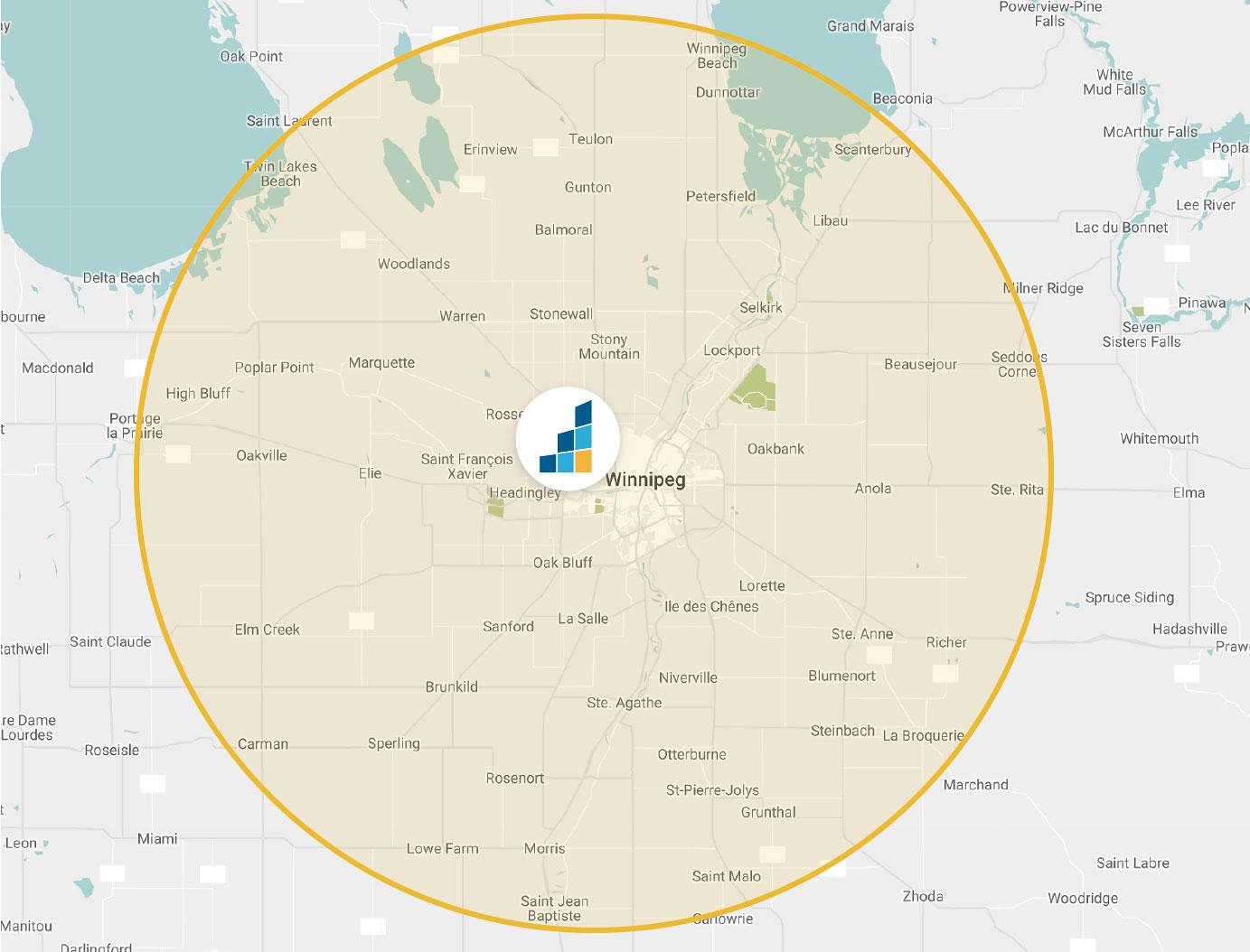 Winnipeg's Location Map