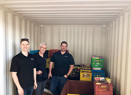 BigSteelBox staff at a food collection drive