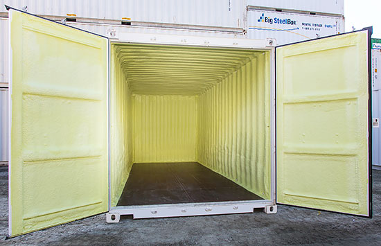 Shipping container with spray foam insulation - BigSteelBox