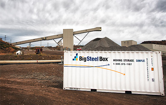 BigSteelBox storage container on industrial worksite