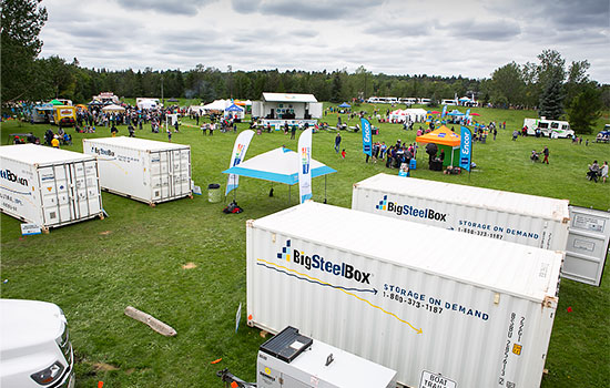 BigSteelBox storage containers in use at a festival event