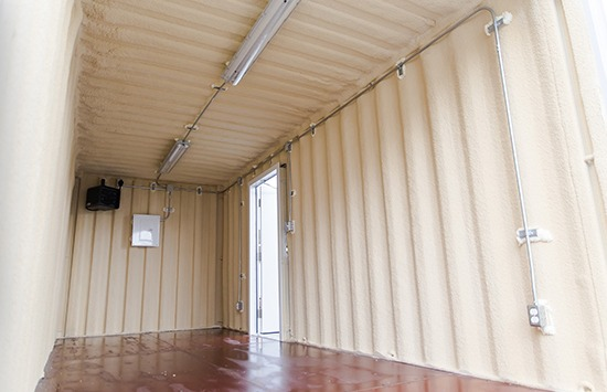 Shipping container modifications, heated and lit storage unit