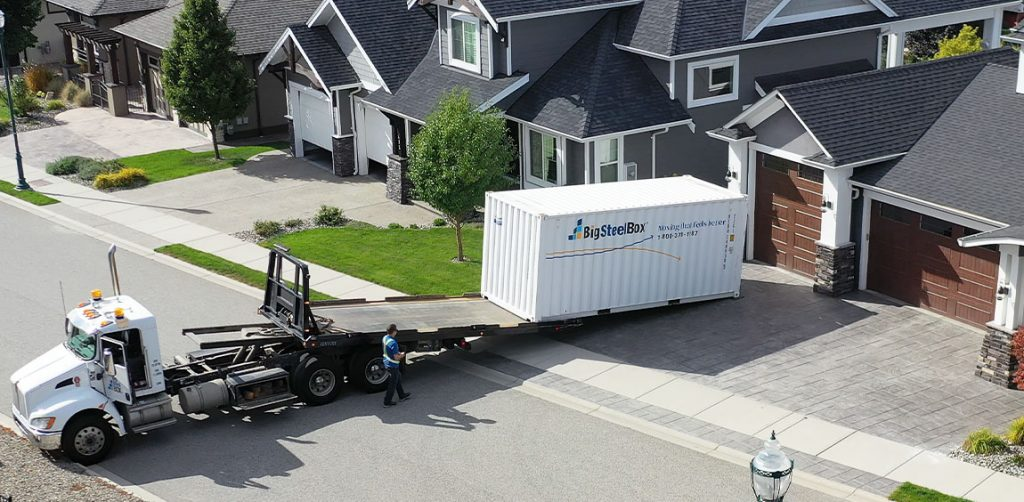 Delivery of a BigSteelBox storage unit to a home