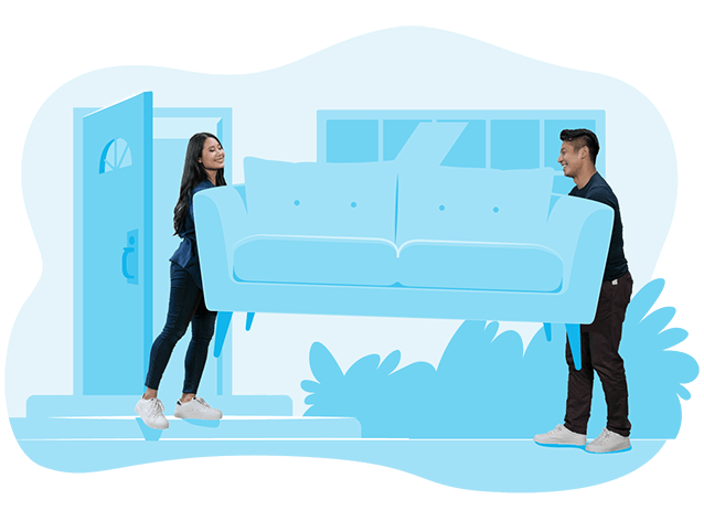 Couple moving a couch - BigSteelBox