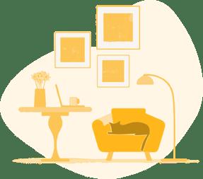 Cat relaxing in living room - BigSteelBox Contact us