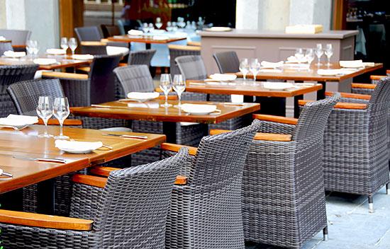 Restaurant patio furniture - storage from BigSteelBox