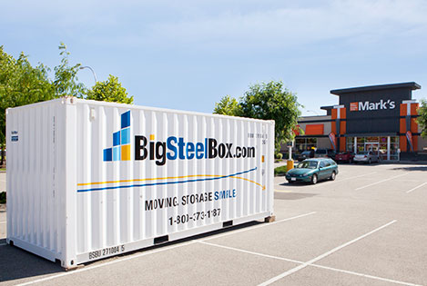 Shipping container for business storage