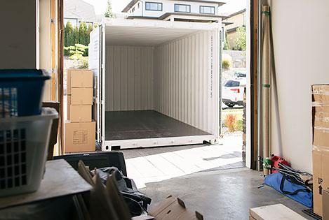BigSteelBox storage unit in driveway