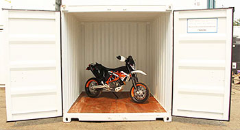 Motorcycle dirt bike stored in a BigSteelBox container