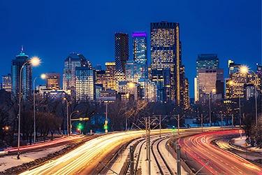 Rush hour traffic in Calgary, AB