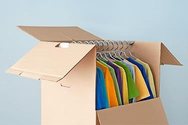 Wardrobe packing box with clothing