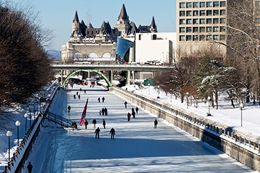 Skating on the Rideau Canal downtown Ottawa