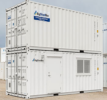 Storage container stacked on top of a container office