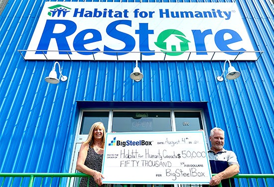 BigSteelBox present cheque for $50,000 to Habitat for Humanity Canada