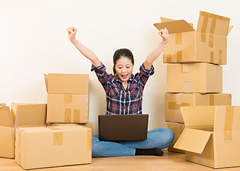 Woman happy to save money on her move