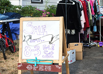 Yard sale before moving